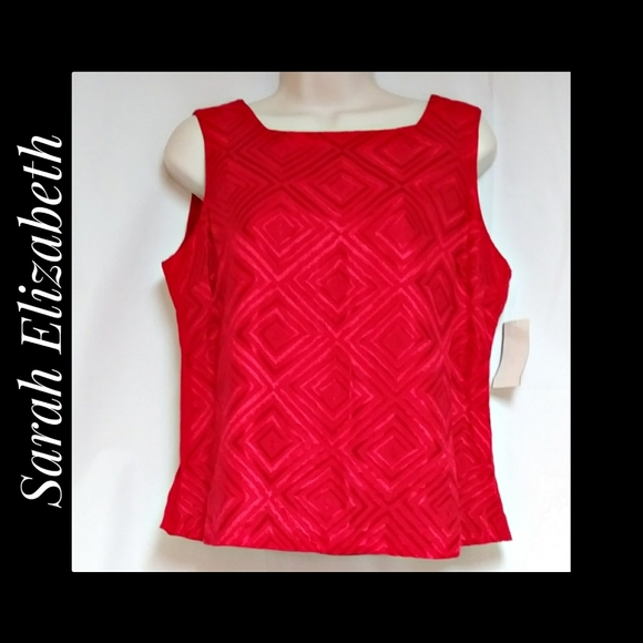 Sarah Elizabeth Red Embroidered Tank Top NWT's